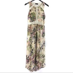 ASTR Illusion High Low Floral Print Lace Dress